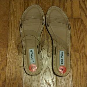 Steve Madden Maelie Clear Flats Slides Sandals